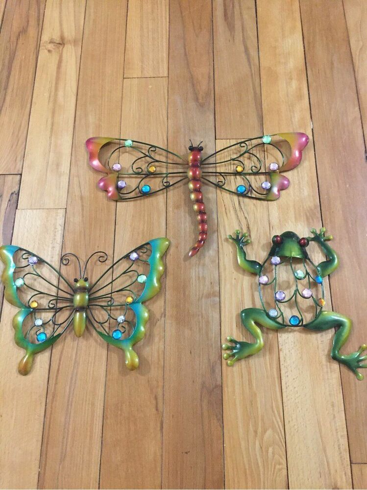 Best Colorful Creatures Metal Wall Art Butterfly Frog Dragonfly Sparkling Gems Decor Ebay This Month