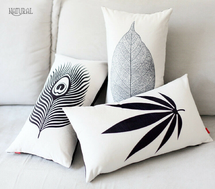 Best Elegant Black White Leaves Pillow Case Velvet Decorative This Month