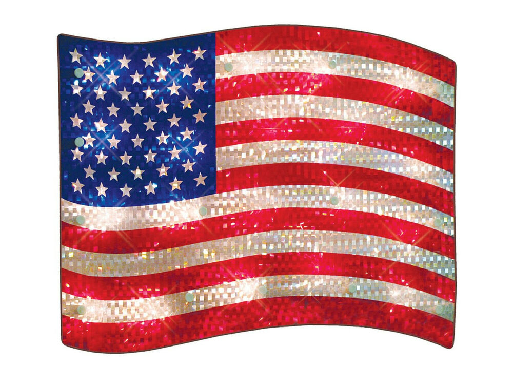 Best Patriotic Lights Lighted Flag Window Decoration Old This Month