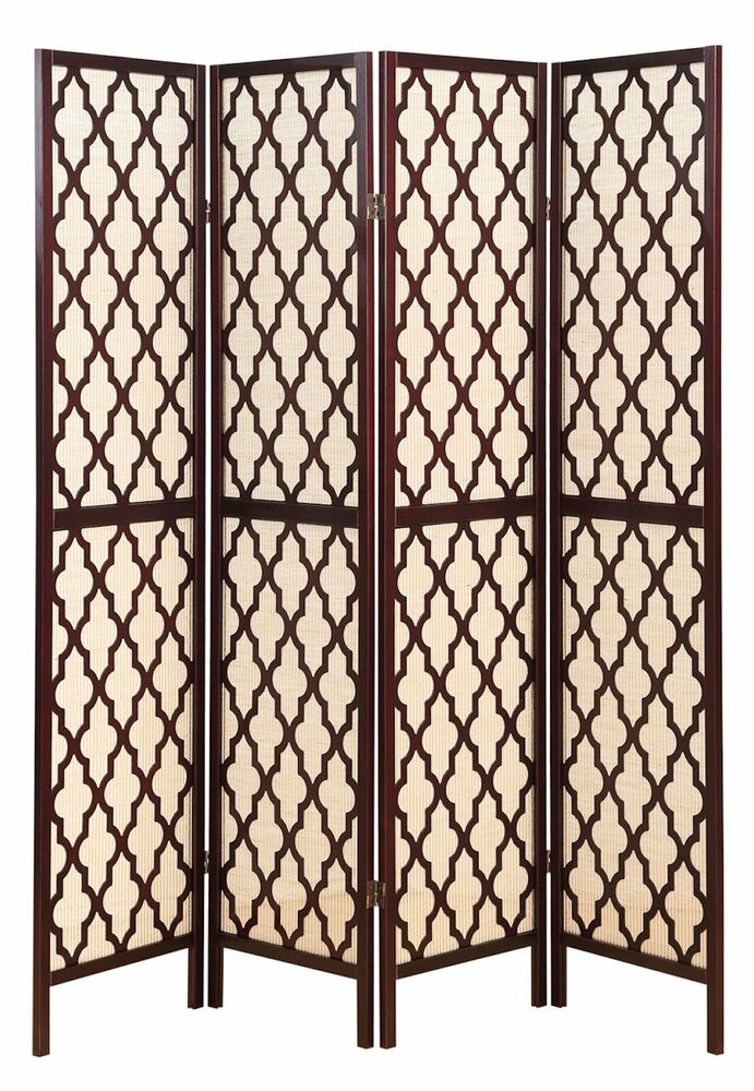 Best 4 Panel Wooden Fabric In Lay Screen Room Divider W This Month