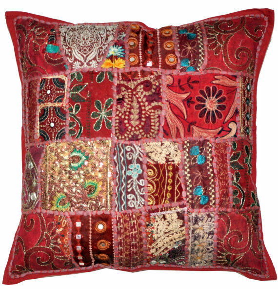 Best 24 X 24 Throw Pillow Embroidered Indian Decorative Cushion This Month