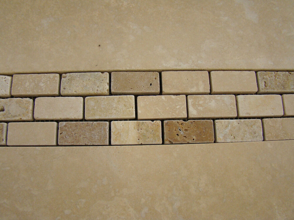 Best Mix Travertine Mosaic Border Tiles 305X75Mm Tumbled Ebay This Month