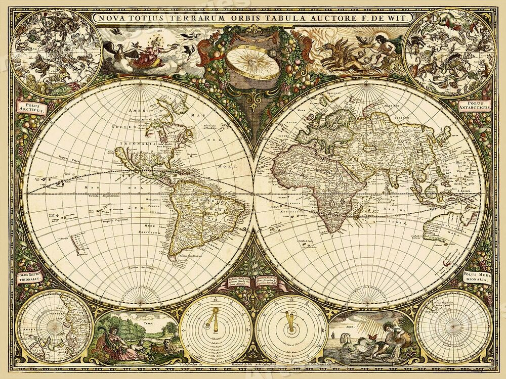 Best 1600 S Old World Decorative Map Art Print 24X32 Ebay This Month