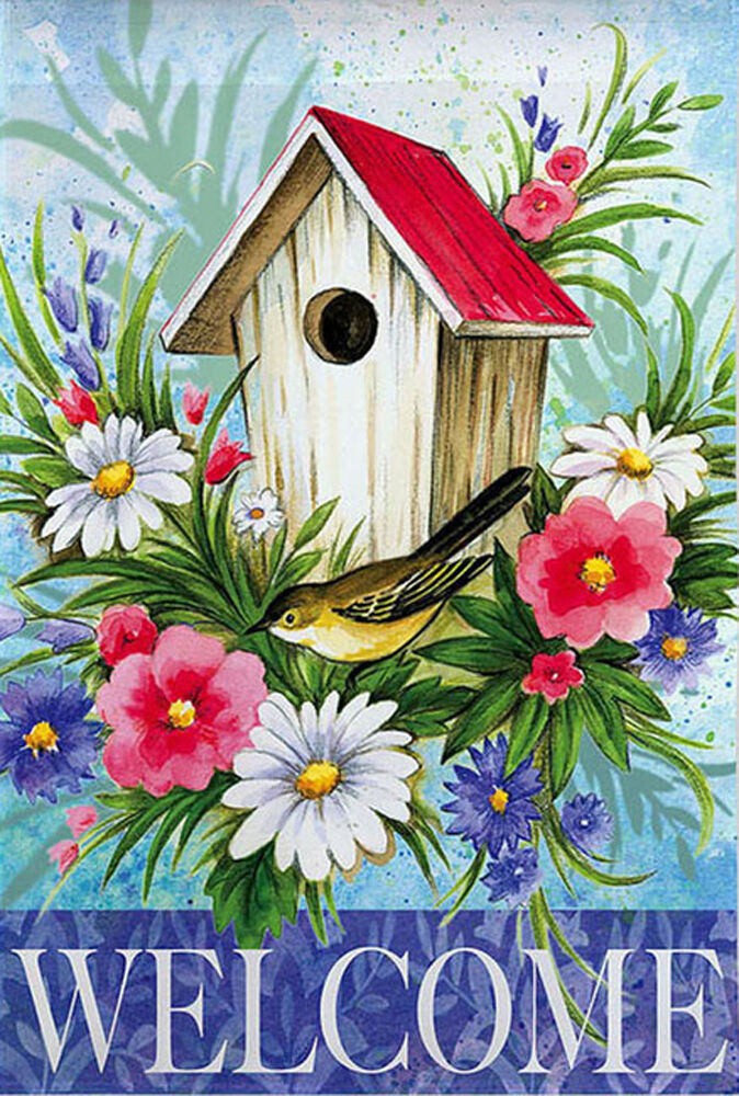 Best Birdhouse Welcome Spring Garden Flag Floral Decorative This Month