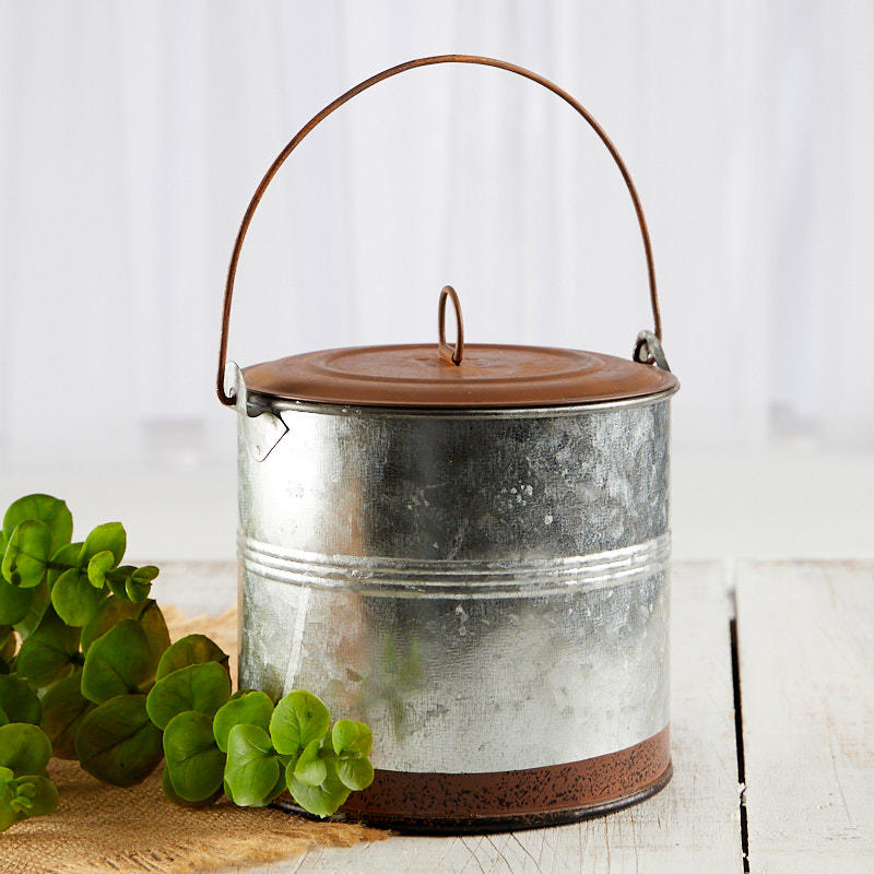 Best Round Galvanized Tin With Rusty Lid Baskets Buckets This Month