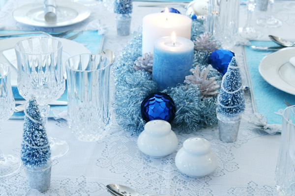 Best Tables Sets Blue Christmas Holiday Centerpieces Candles This Month