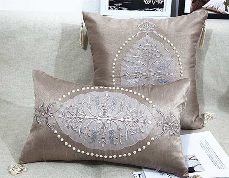 Best 2015 Handmade Luxury Bed Cushion Pearl Beaded Cushion This Month