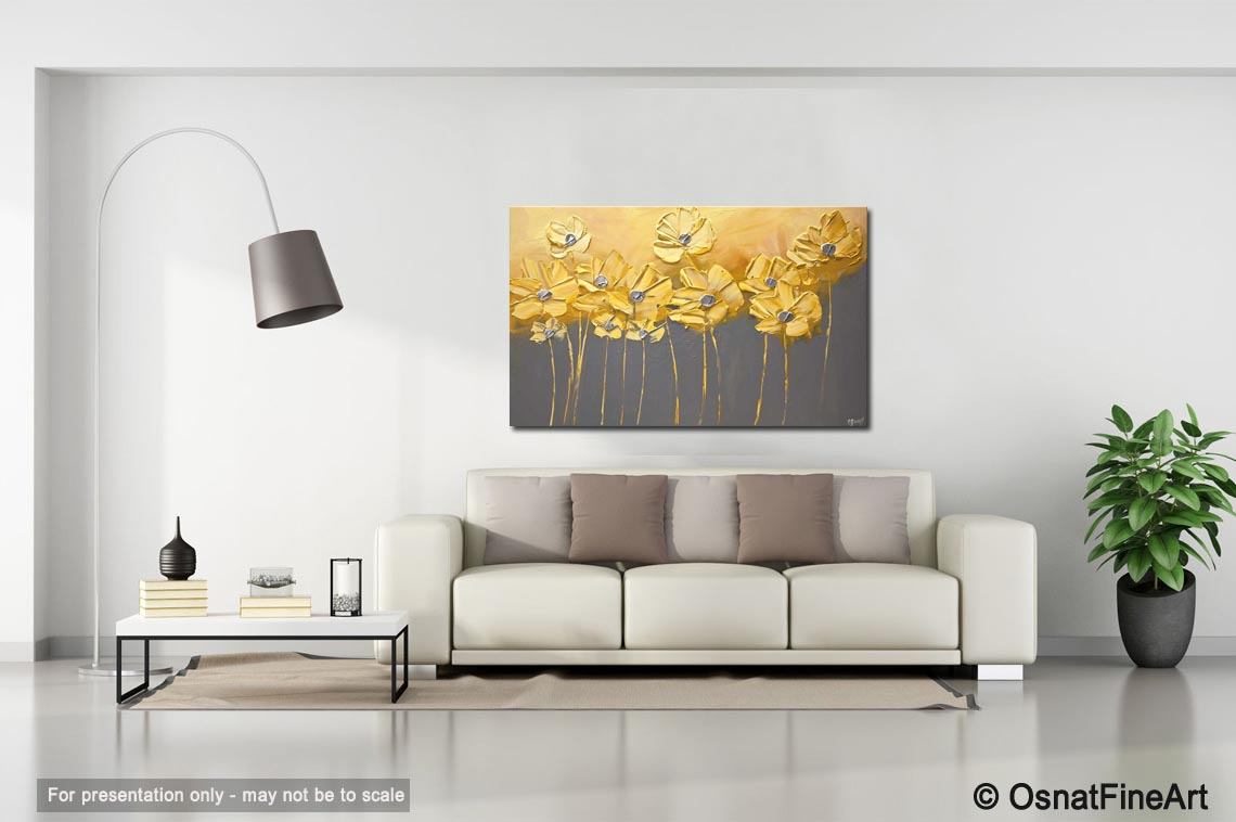 Best Buy Yellow Gray Flowers Gray Background Painting Home This Month