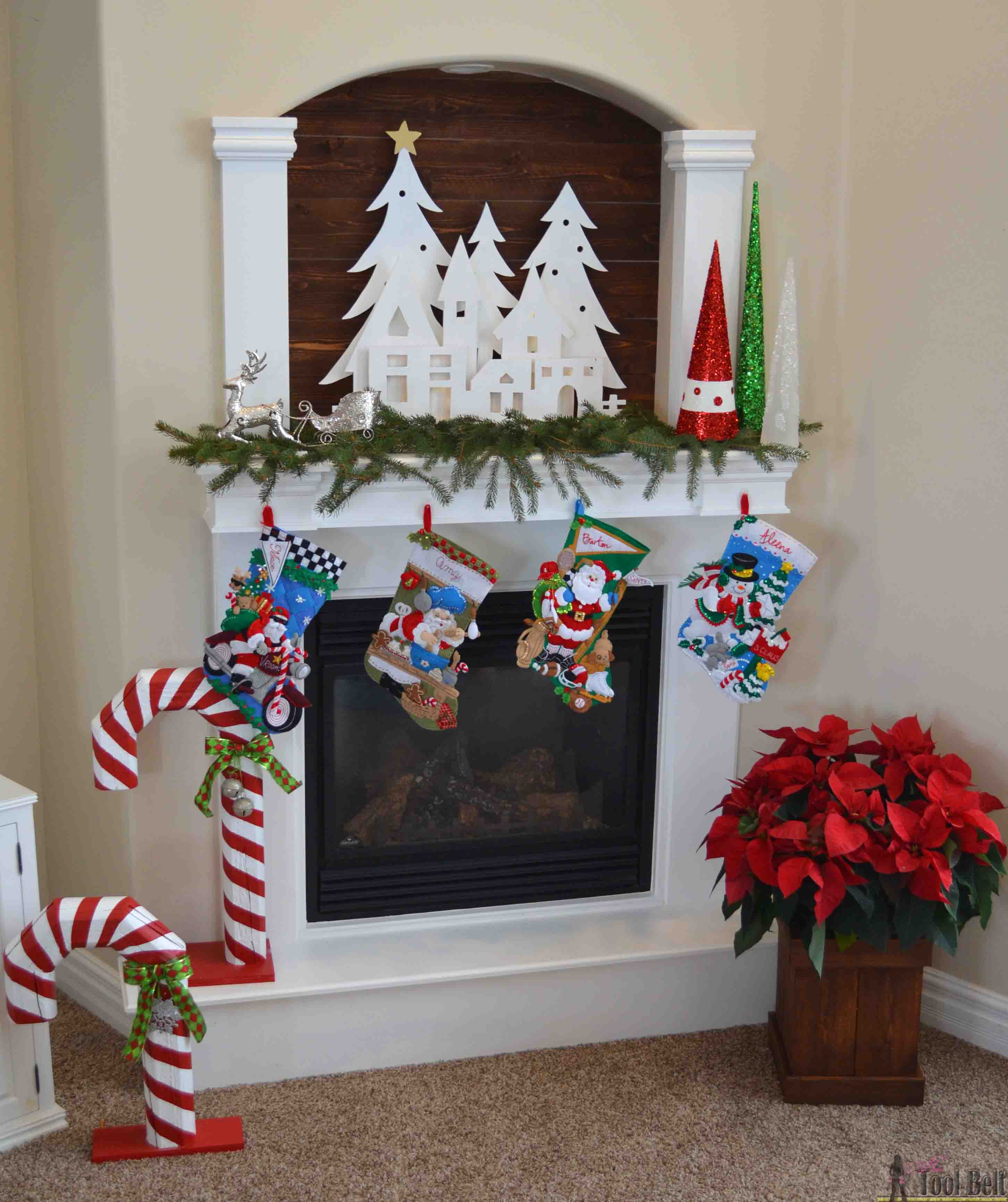 Best Diy Christmas Village Silhouette Mantel Decor Her Tool Belt This Month