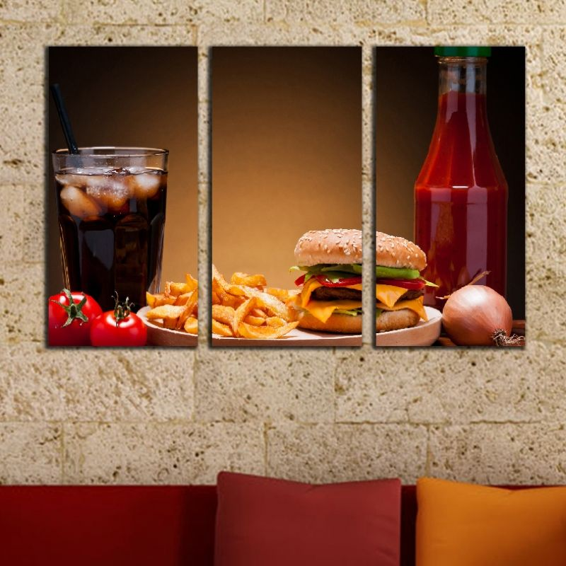 Best Wall Art Decoration Set Of 3 Pieces For Fast Food Restaurant With Burger Menu This Month