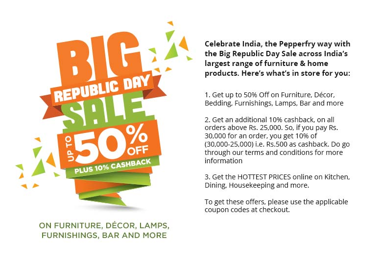 Best Pepperfry Coupon Pepperfry Republic Day Sale Up To 50 This Month