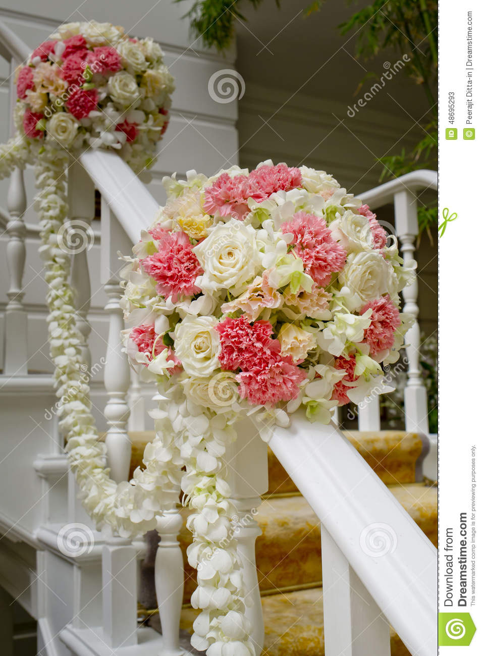 Best Beautiful Wedding Flower Decoration At Stairs Royalty Free This Month