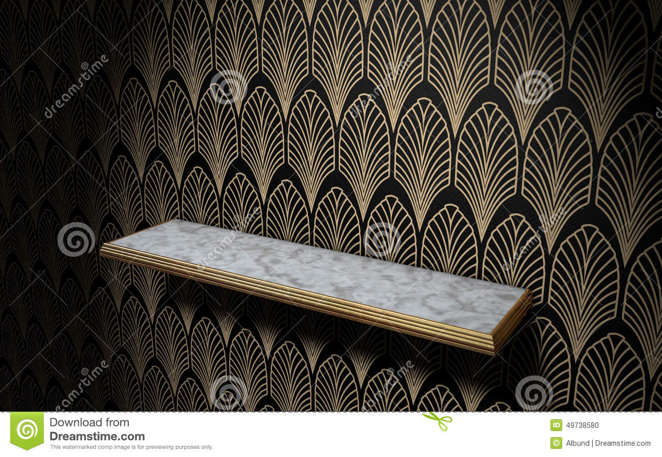 Best Empty Art Deco Shelf On Wall Stock Illustration Image This Month