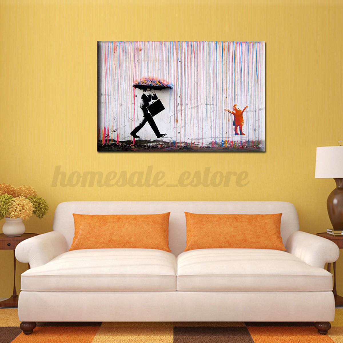Best Modern Vogue Rain Walk Art On Canvas Watercolor Painting This Month