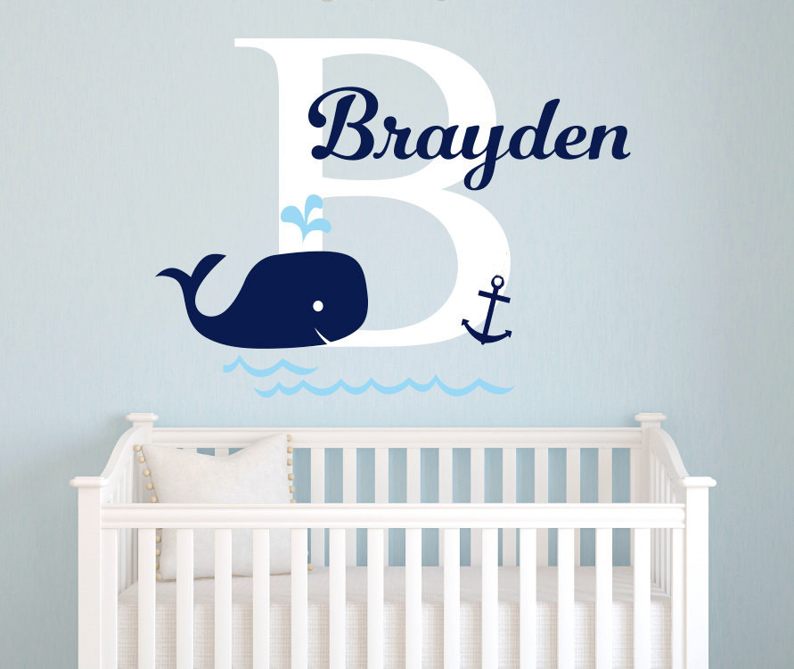 Best Personalized Baby Name Wall Sticker Nursery Whale Anchor This Month