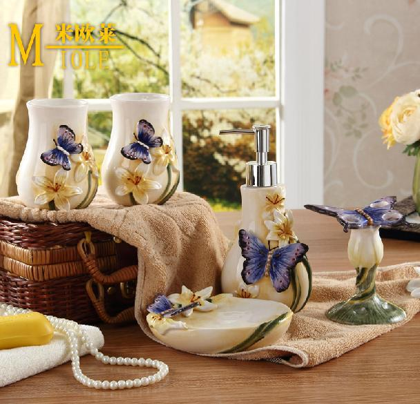 Best Ceramic Butterfly Bathroom Set 5Pcs Set Bathroom This Month