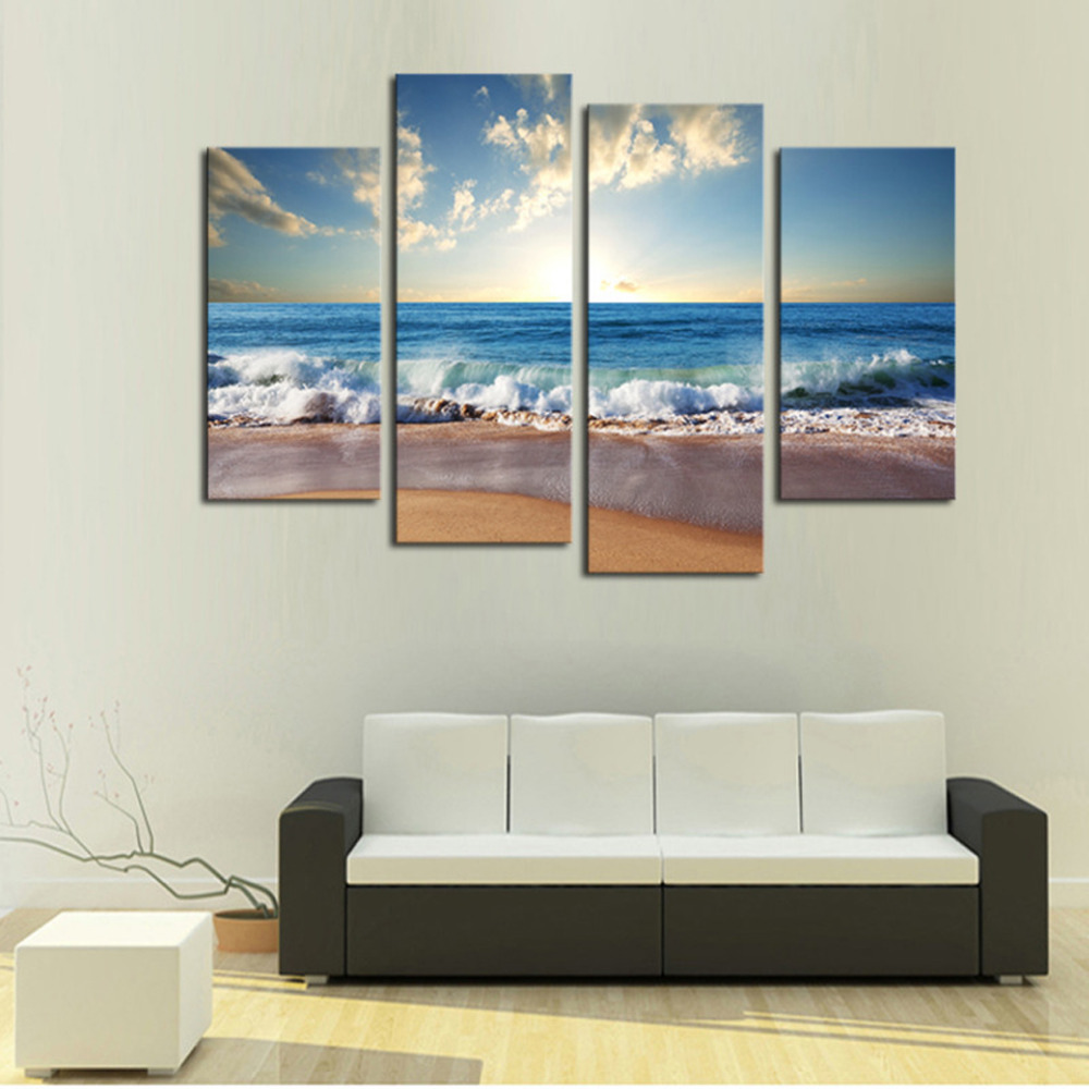 Best 4 Panels Sand Beach Large Hd Canvas Print Painting For This Month