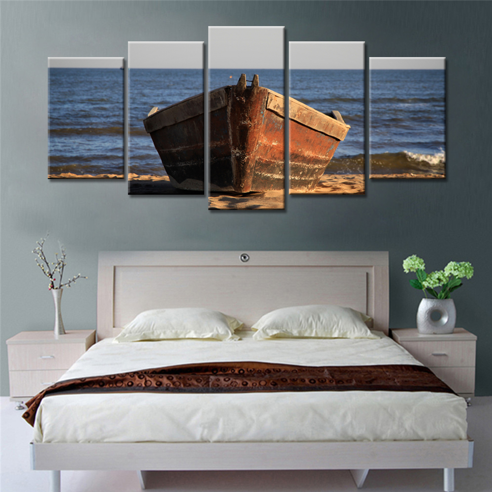 Best Drop Shipping 5 Panel Canvas Prints Painting Ship On The This Month