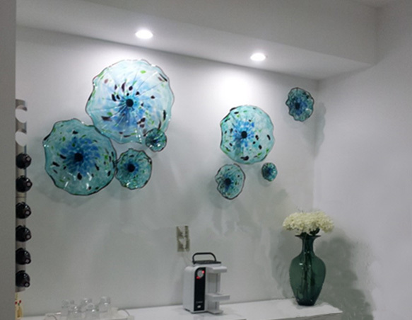 Best Italian Dale Chihuly Murano Blue Plates Blown Glass Wall This Month