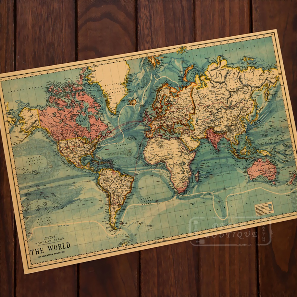 Best Aliexpress Com Buy Ocean Mountains World Map Classic This Month