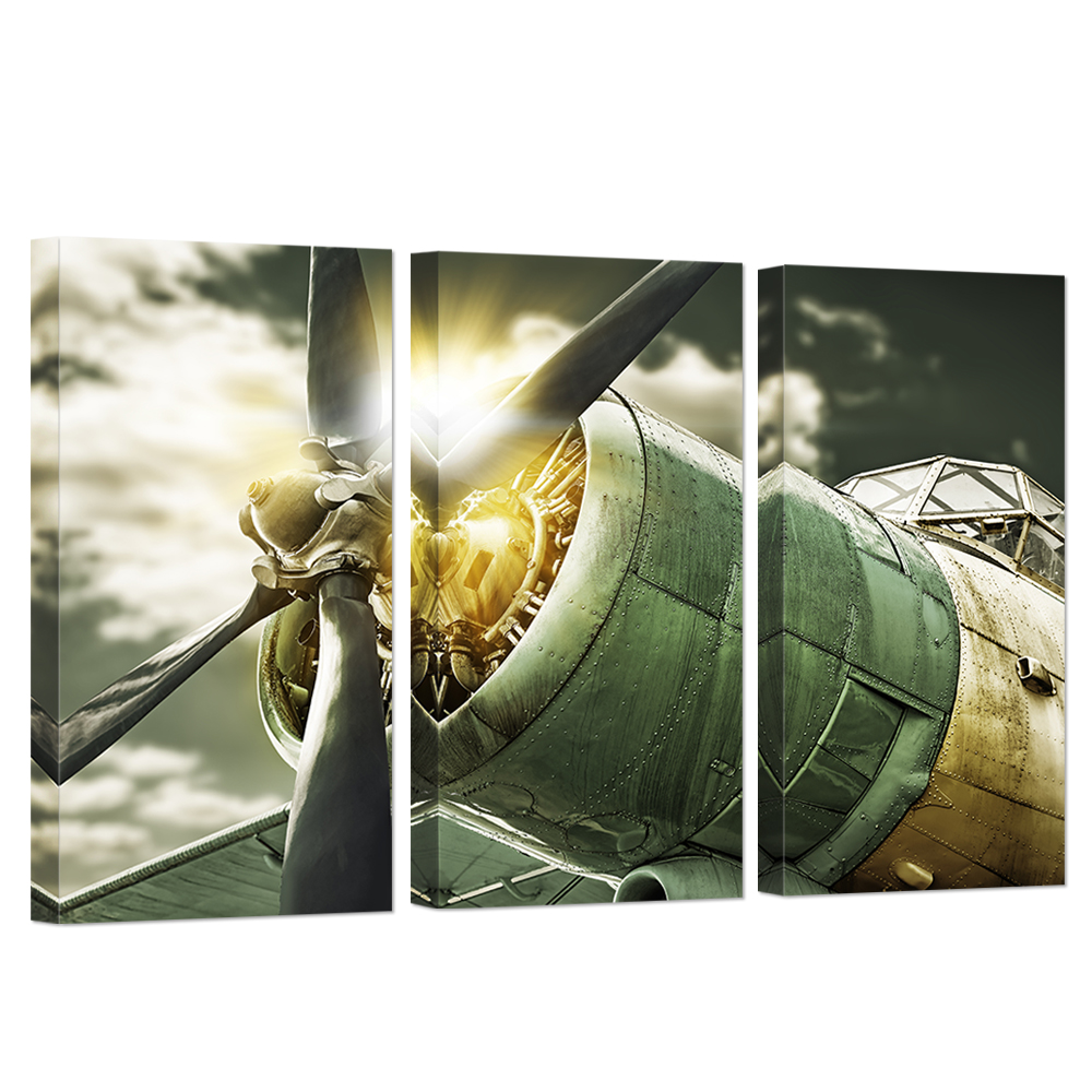 Best 3 Panel Wall Art Painting Turbine Combat Airplane Decor This Month