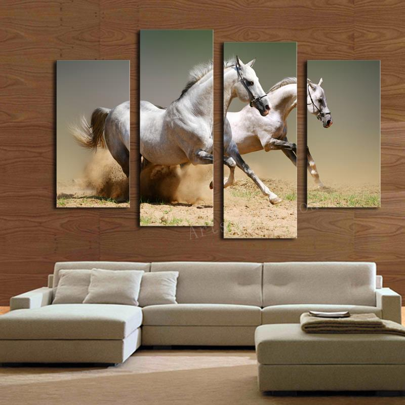 Best 2017 Sale Hot Sell 4 Pcs Running Horse Large Hd Modern This Month