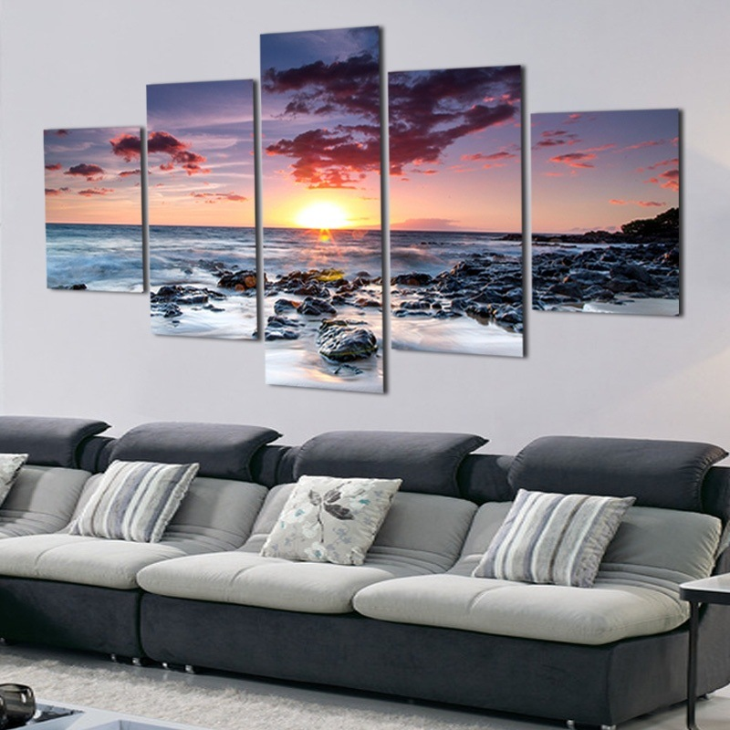 Best 5 Panel Modern Printed Canvas Oil Painting Beach Sunset This Month