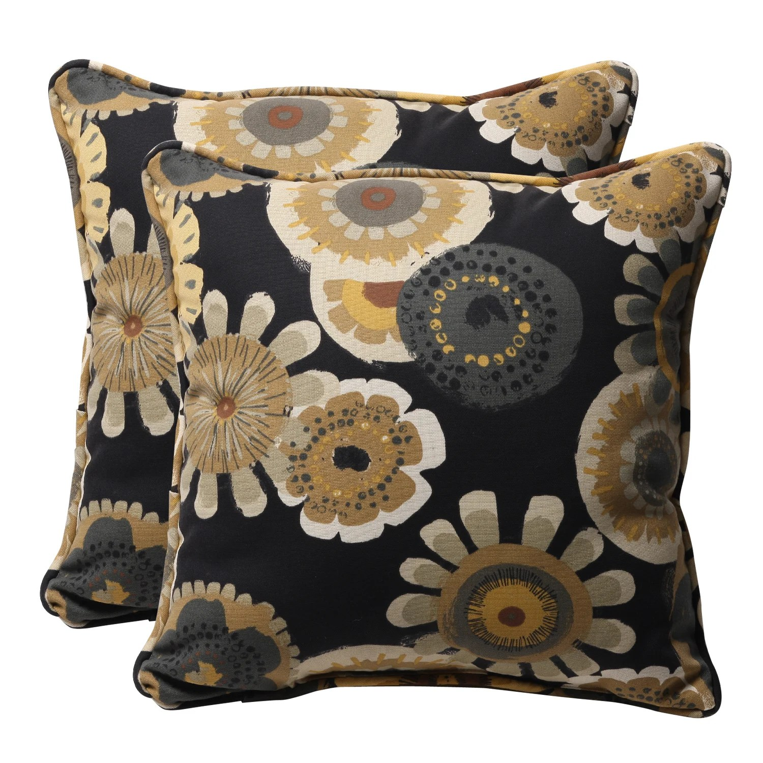 Best Shop Decorative Black Yellow Floral Square Outdoor Toss This Month