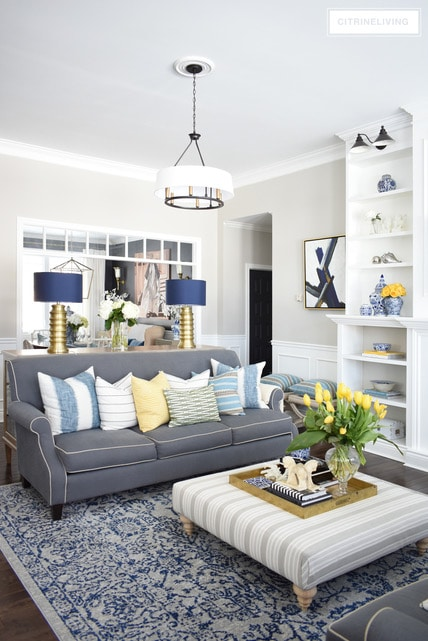 Best Blue And White Spring Living Room Tour Sand And Sisal This Month
