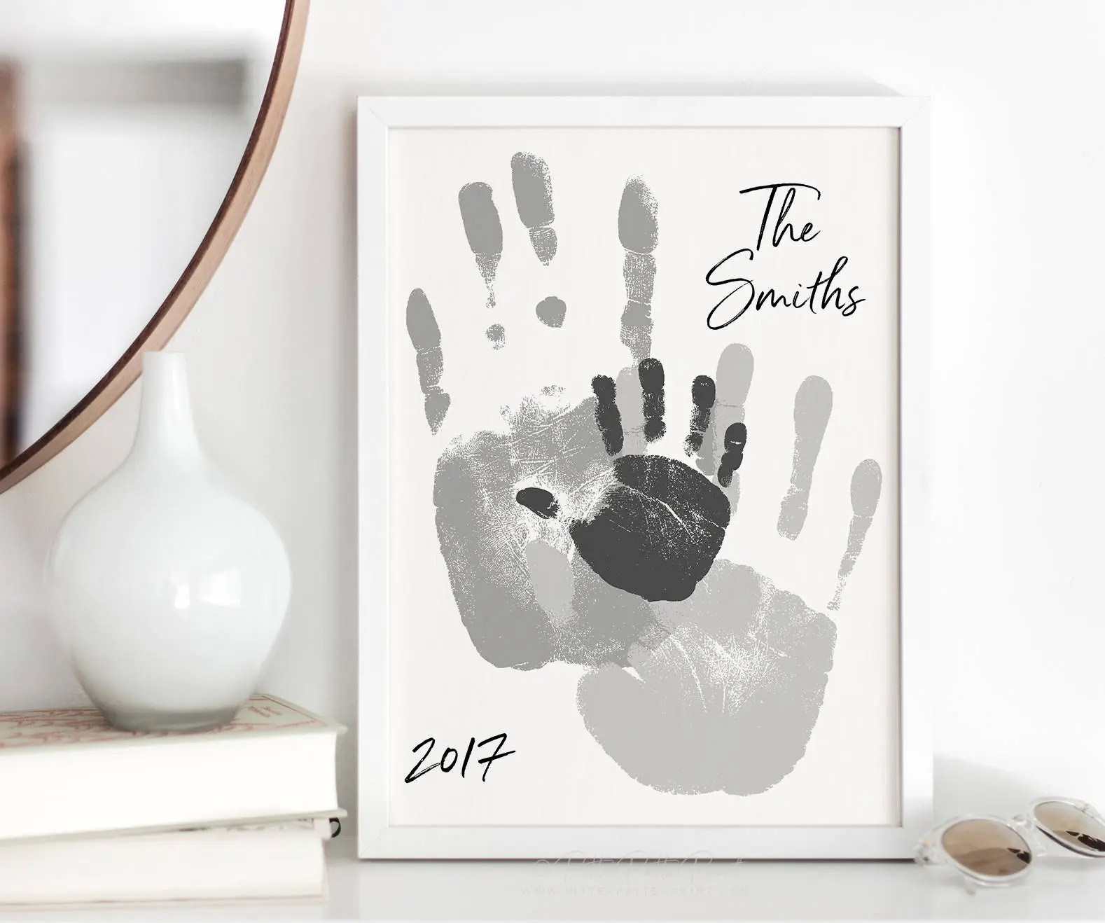 Best Family Art Handprint Alternative Portrait Custom Home Decor This Month