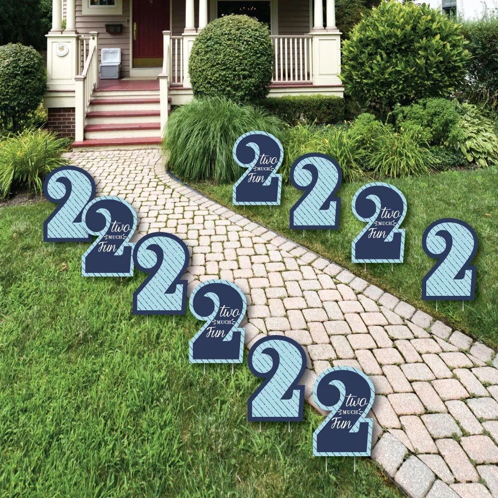 Best Two Much Fun 2Nd Birthday Boy Lawn Decorations Outdoor This Month