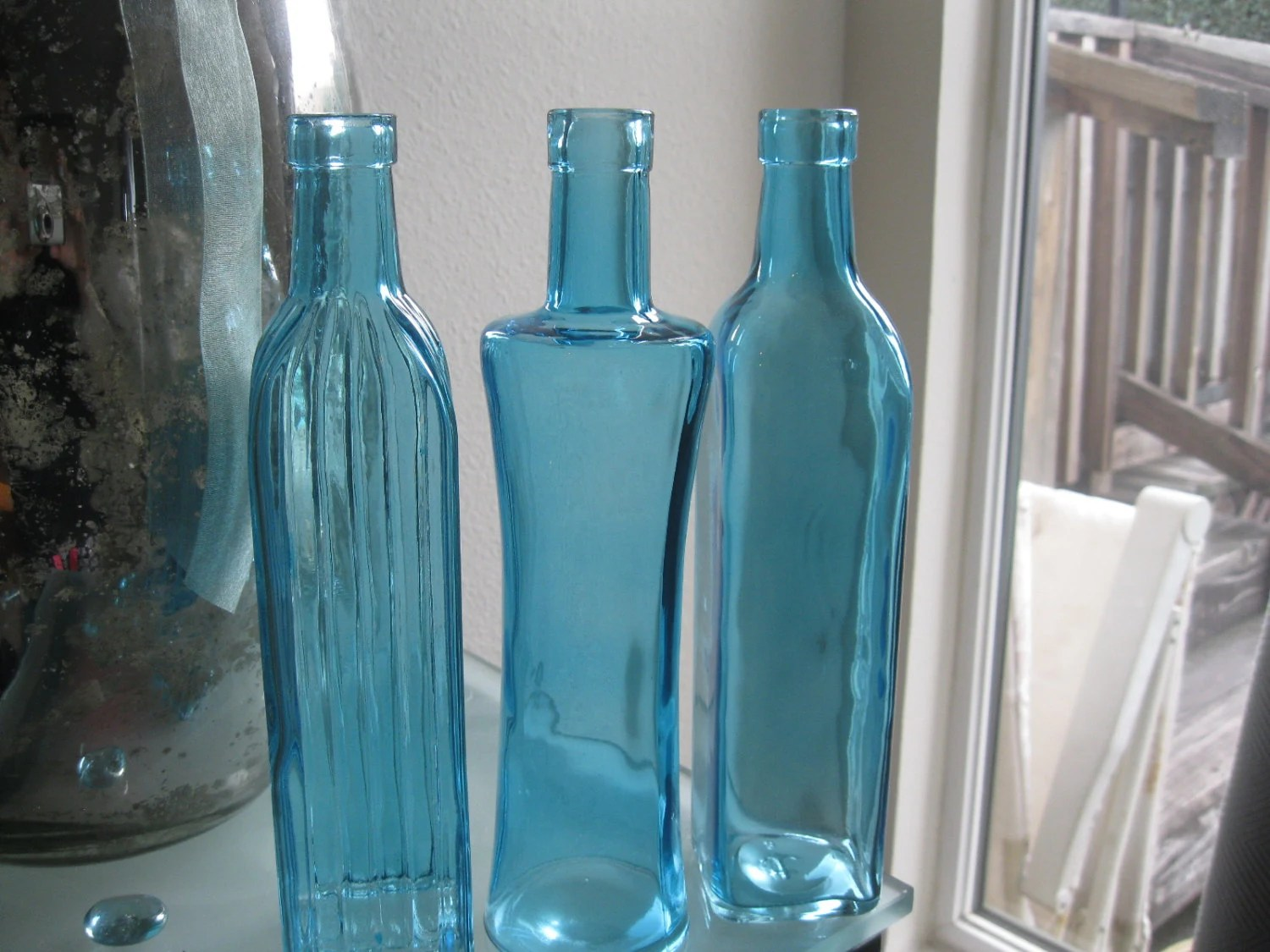 Best Blue Decorative Colored Glass Bottles Floral Bud Vase This Month