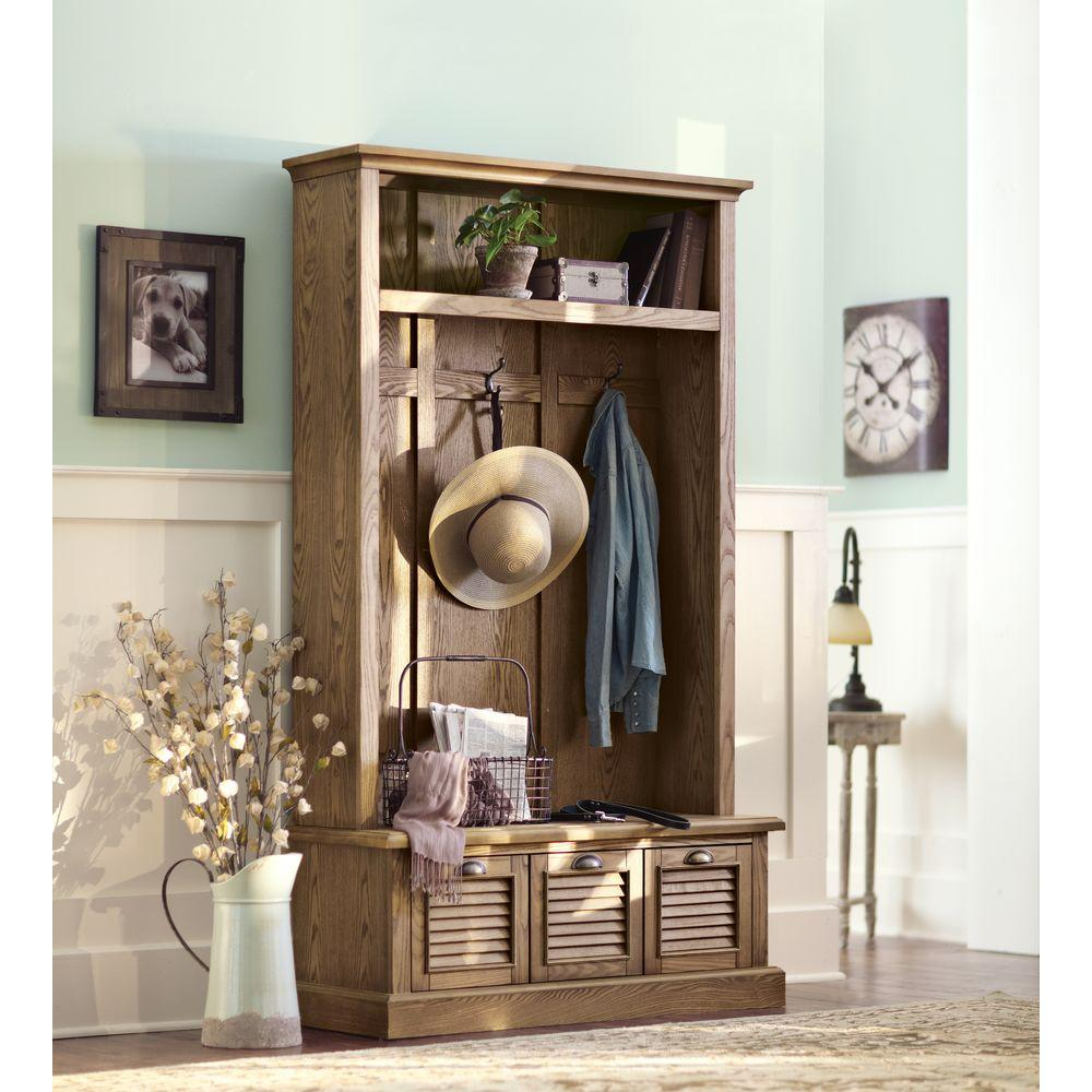 Best Home Decorators Collection Shutter Weathered Oak Hall Tree This Month