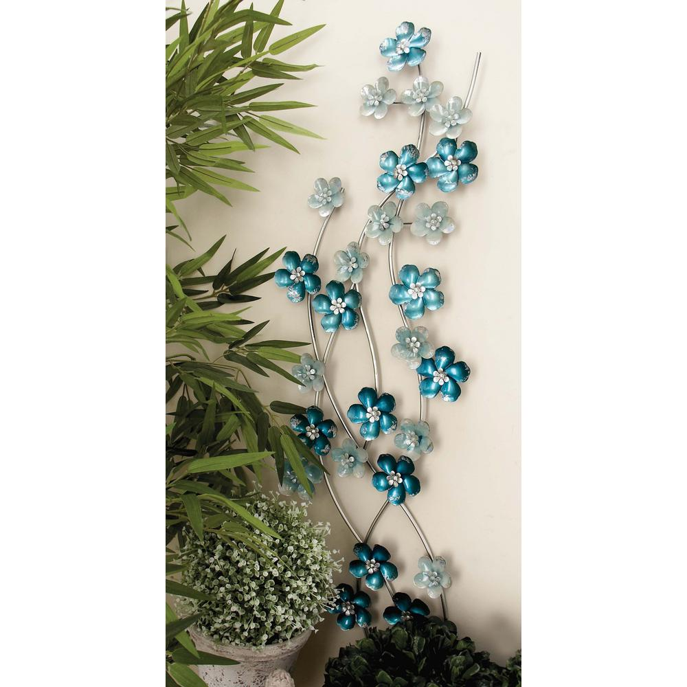 Best 13 In X 50 In Iron Light Blue Flowers Wall Decor 23460 This Month