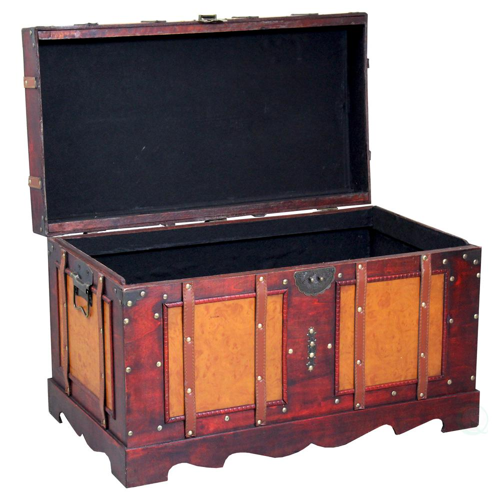 Best Vintiquewise Large Antique Cherry Style Steamer Trunk This Month