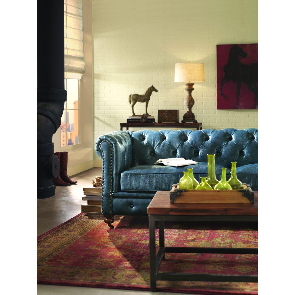 Best Home Decorators Collection Gordon Blue Leather Sofa This Month