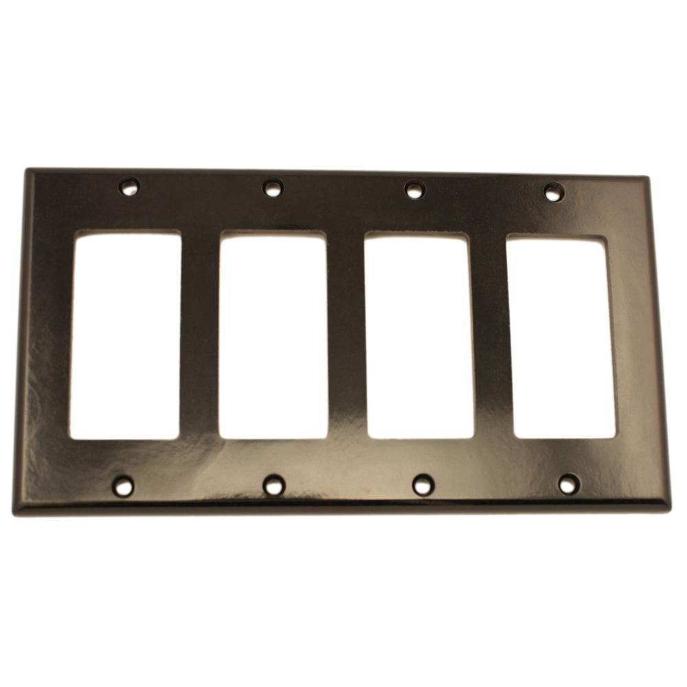 Best Leviton 4 Gang Decora Wall Plate Black 80412 E The Home This Month