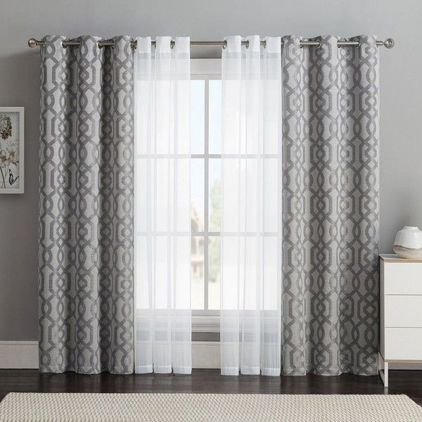 Best Vcny 4 Pack Barcelona Double Layer Curtain Set Gray 32 This Month