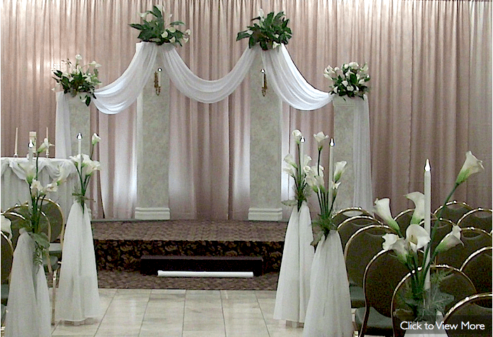 Best Wedding Ceremony Decor Not The Pink But The White Draping This Month