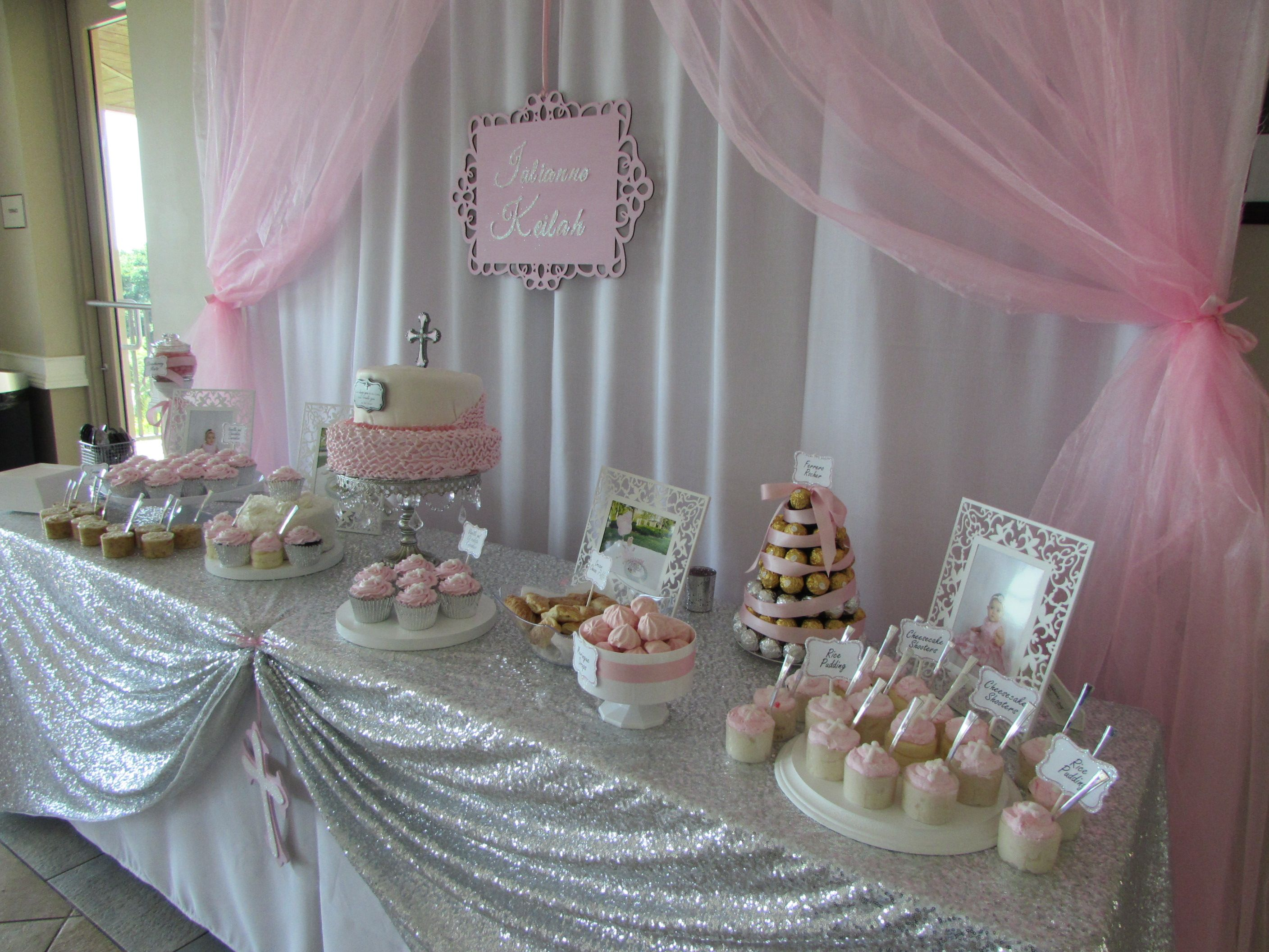 Best Baby Girl Pink Baptism Dessert Table Cake Table Diy This Month