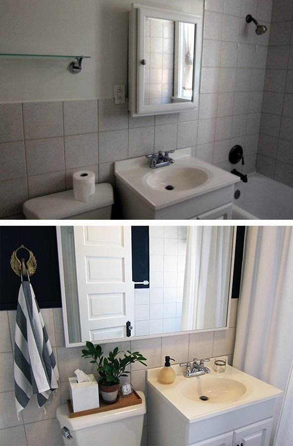Best Rental Bathroom Before After Makeover With Dark Wall This Month