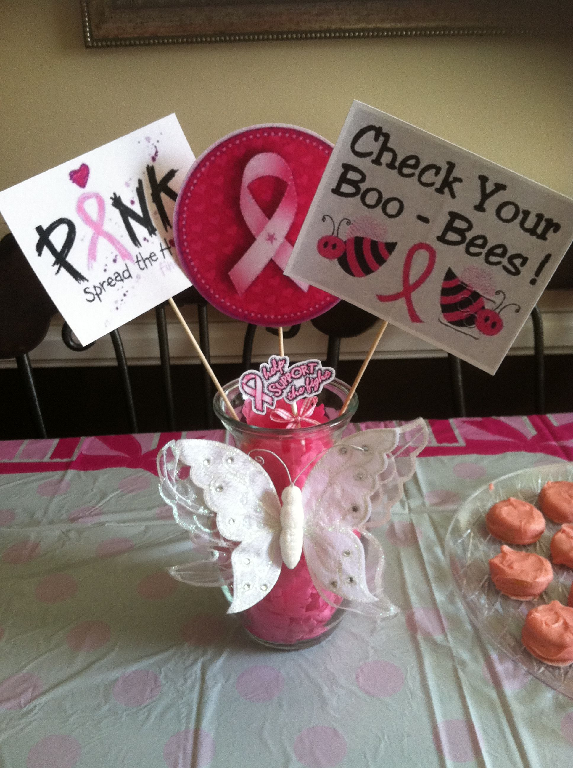 Best A Table Centerpiece I Made For A Br**St Cancer Awareness This Month