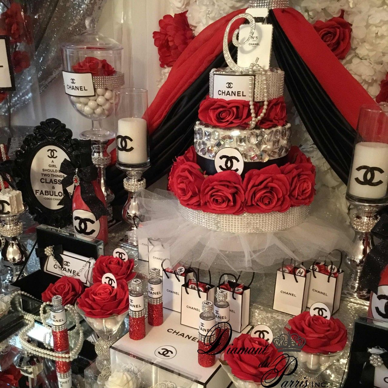 Best Chanel Birthday Party Red Silver And Black Theme Chanel This Month