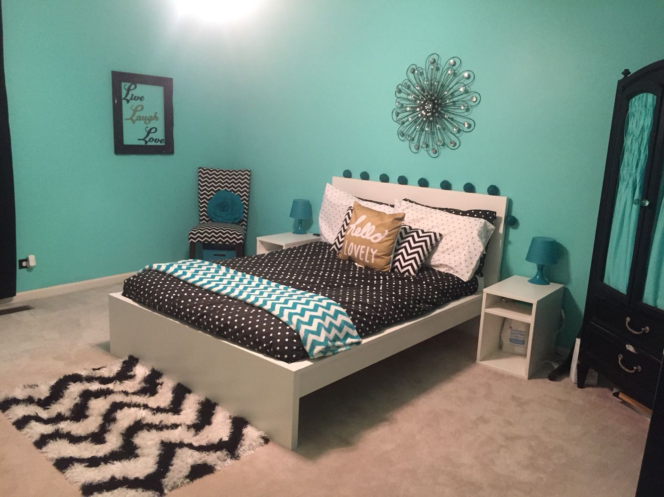 Best Teal Black White And Gold T**N Girl Bedroom With This Month