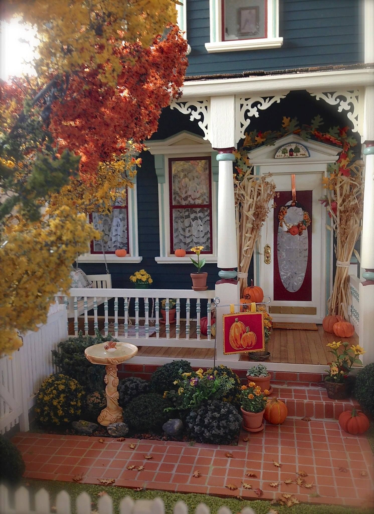 Best Kathleen Holmes Dollhouse Fall Front Porch Dollhouses This Month