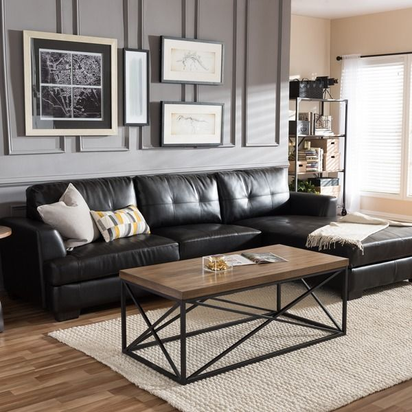 Best Dobson Black Leather Modern Sectional Sofa Dc Living This Month
