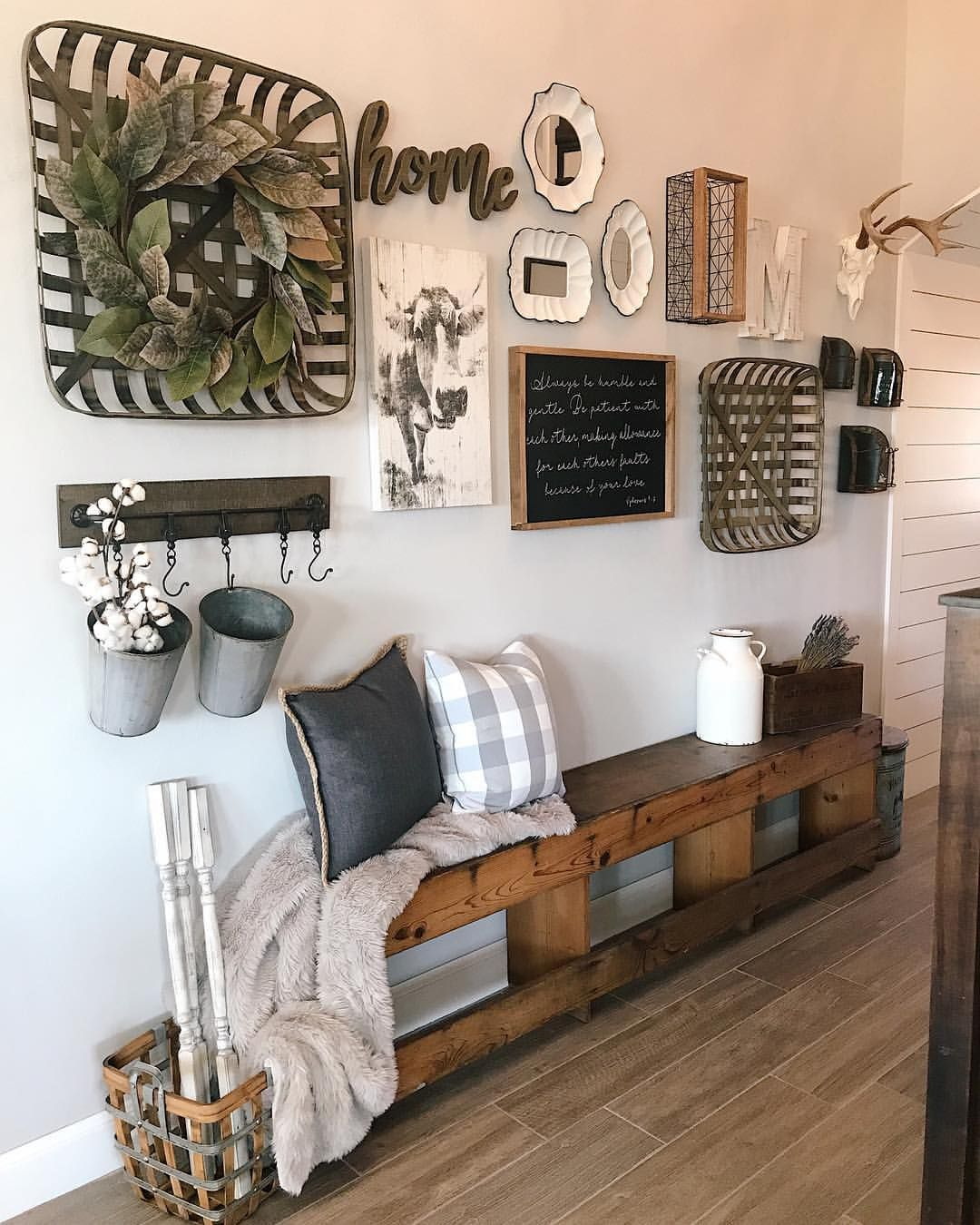 Best Our Modern Farmhouse Hallway Entryway Bench Wall Collage This Month