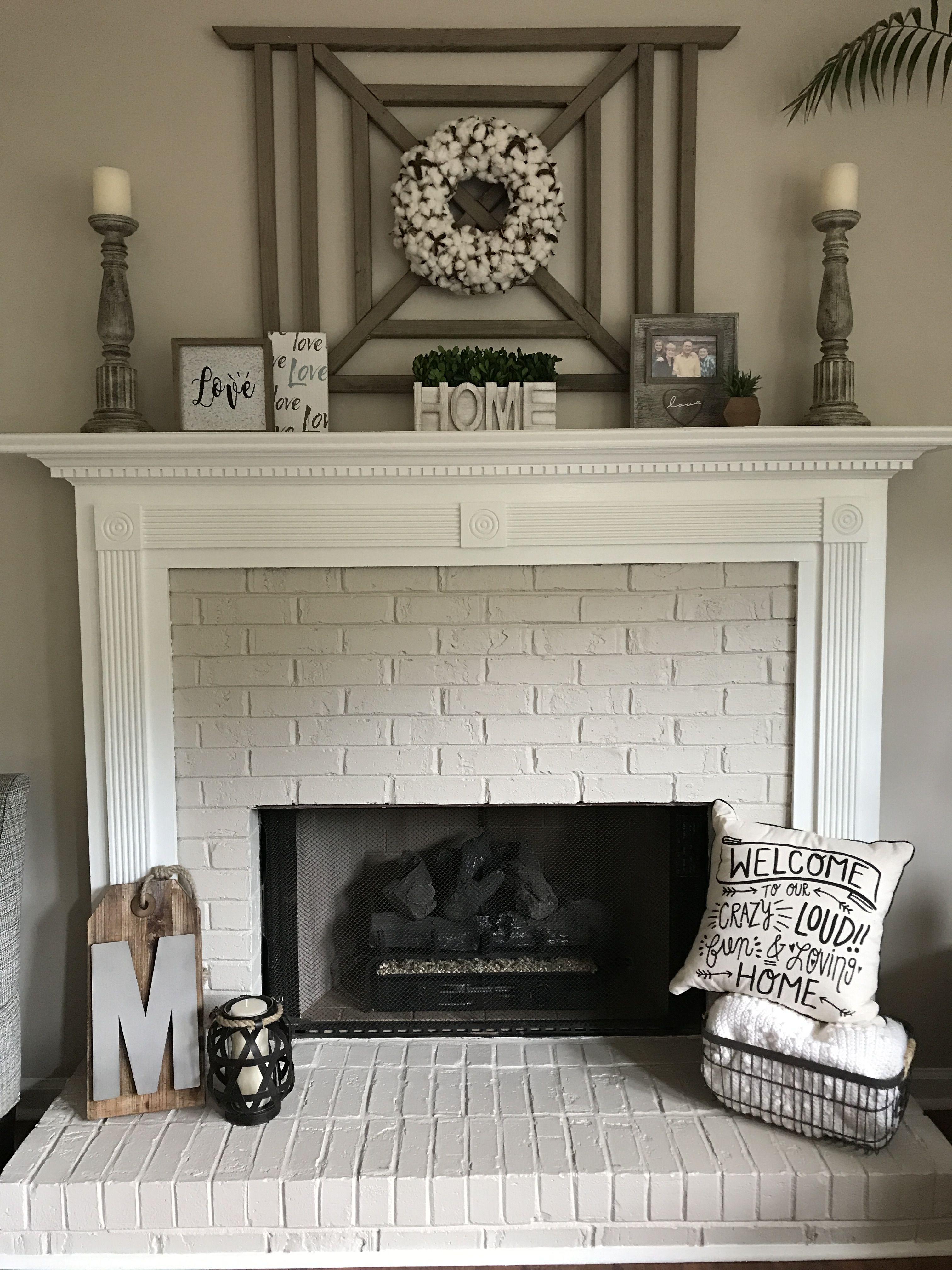 Best Painted Brick Fireplace And Mantle With Cotton Wreath This Month