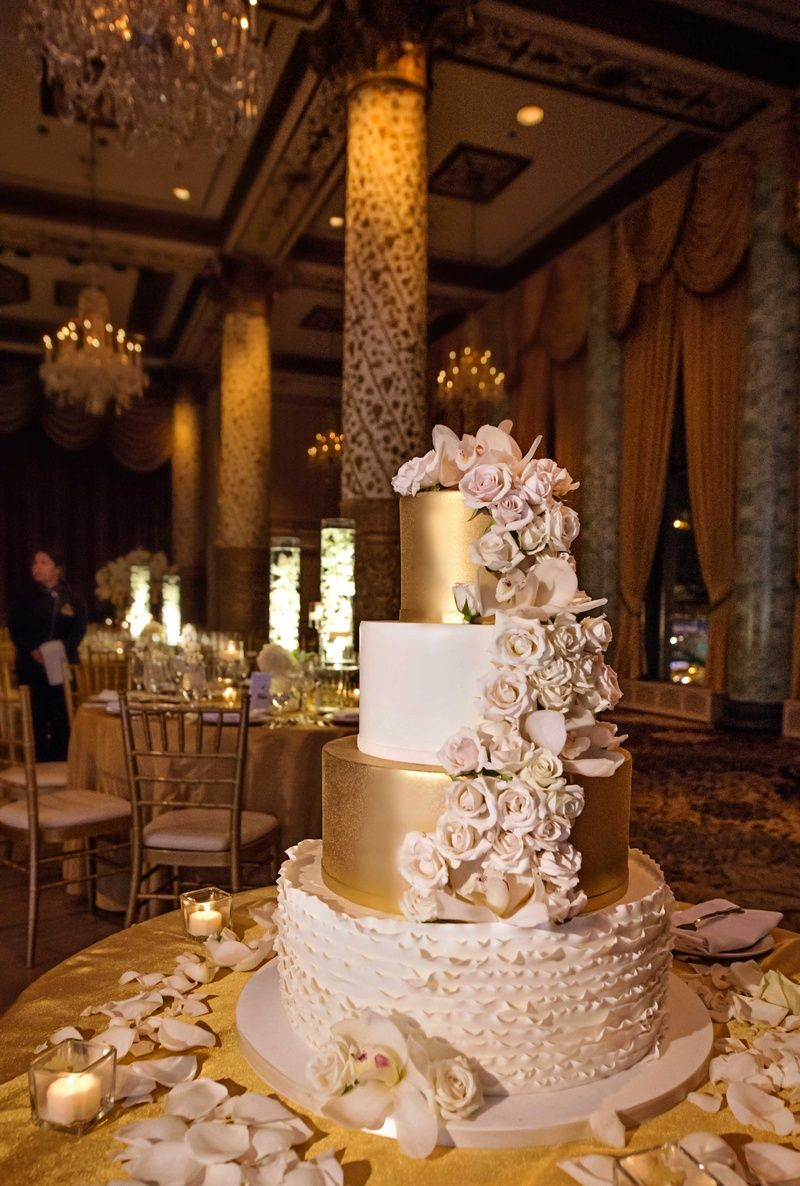 Best White Gold And Blush Four Tier Wedding Cake With Cascading This Month