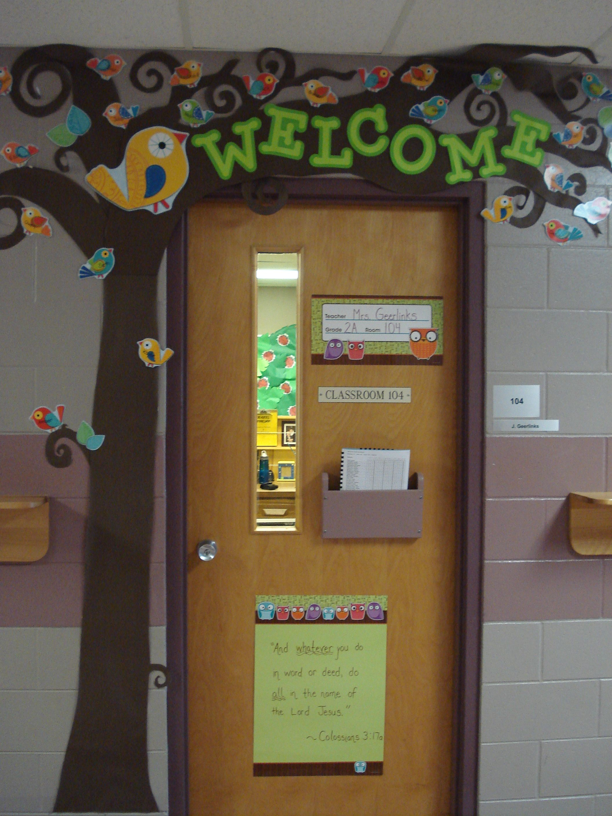 Best Welcome Tree For Door With Students Names On Boho Birds This Month